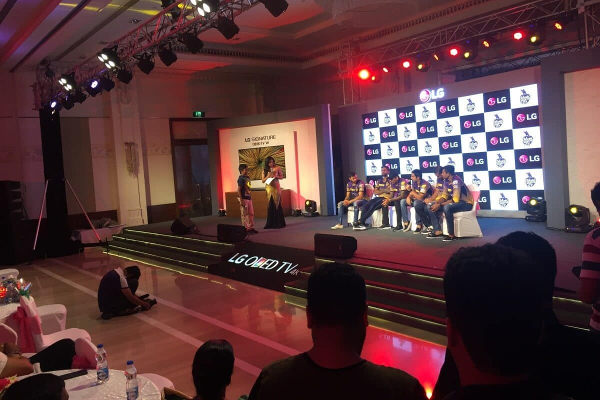 Anchor Reena for LG OLED TV launch with IPL team KKR