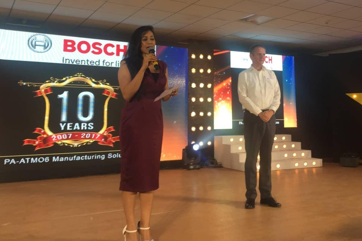 Anchor Reena hosts Bosch ATMO6 10years of establishment in Bangalore